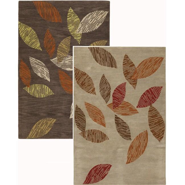 Hand-Tufted Leaf-Patterned Mandara New Zealand Wool Area Rug (5' x 7'6)