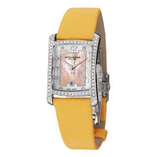 Stuhrling Original Women's 'Gatsby Girl' Yellow Strap Crystal Watch