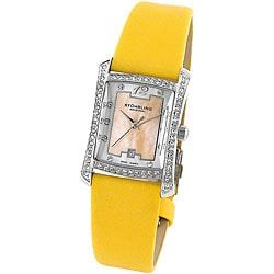 Stuhrling Original Women's 'Gatsby Girl' Yellow Strap Crystal Watch