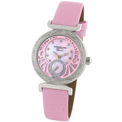 Stuhrling Original Women's 'Soiree' Diamond Pink Strap Watch