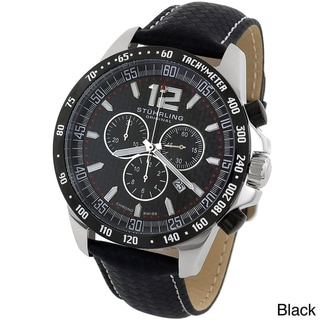 Stuhrling Original Men's 'Concorso' Black or Brown Leather Strap Chronograph Watch