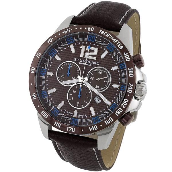 Stuhrling Original Men's 'Concorso' Brown Dial Chronograph Watch
