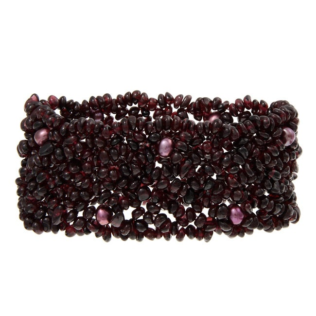 Kabella Agate Chip and Freshwater Pearl Multi-row Stretch Bracelet (5.5-6 mm)