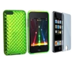 INSTEN Green TPU iPod Case Cover and Screen Guard for iPod Touch Gen 2/ 3