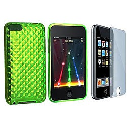Green TPU Case and Screen Guard for iPod Touch Gen 2/3