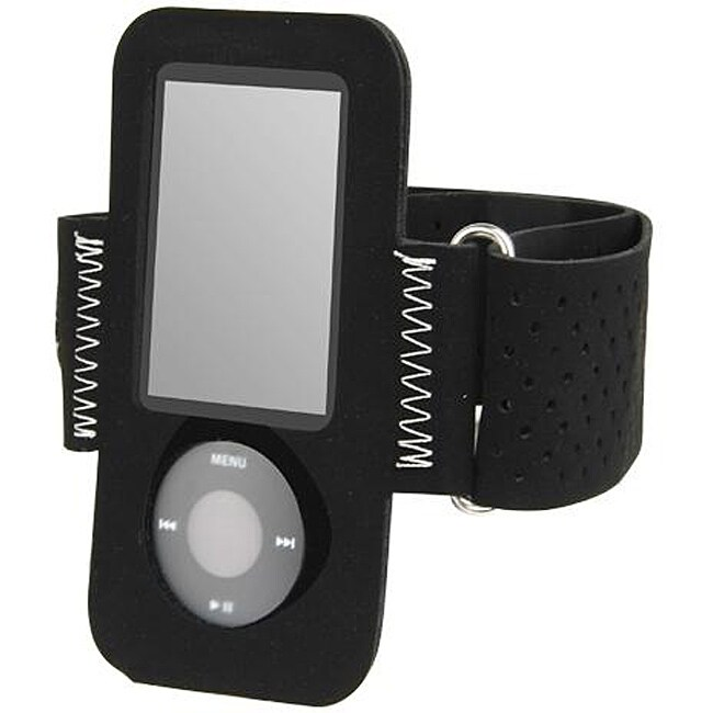 eForCity Black Suede Durable On-the-go Armband for iPod Gen5 Nano