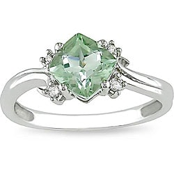 Miadora 10k White Gold Green Amethyst and Diamond Ring
