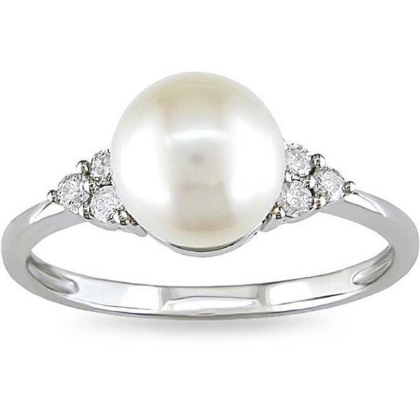 Miadora 10k Gold Cultured Freshwater Pearl and 1/8ct TDW Diamond Ring (7.5-8 mm) (H-I, I2-I3)
