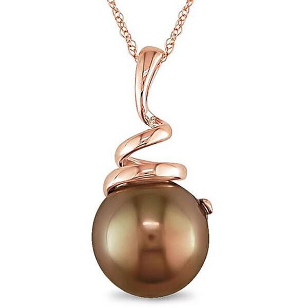 Miadora 10k Pink Gold Brown Tahitian Pearl Necklace (8-8.5 mm)