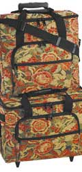 Hemline Sew Easy Burgundy Floral 2-bag Trolley/ Embroidery Set
