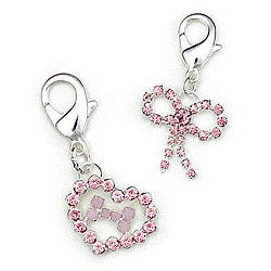 Pink Crystal 'Heart with Bone/ Bow' Pet Collar Clips (Set of 2)