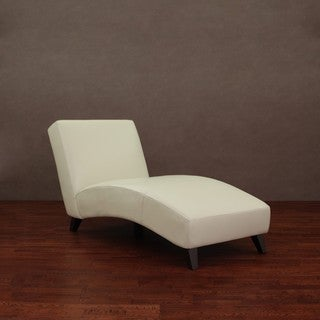 Cleo Creme Leather Chaise