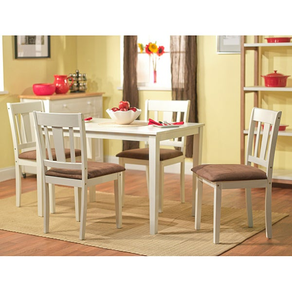 Stratton white 5 piece dining set table room chairs piece for 5 piece living room table set