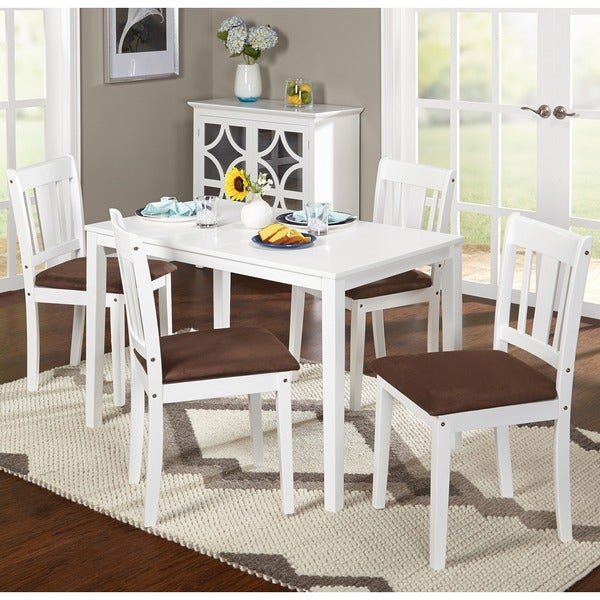 White 5 Piece Dining Room Furniture Set With Table And Chairs Wood New EBay