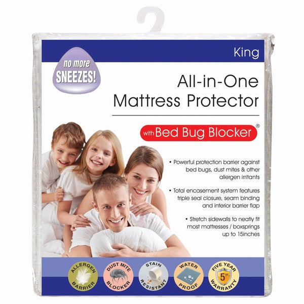 Bed Bug Blocker Zippered Mattress Protector All-In-One Protection with Bed Bug Blocker Pillow Protector (Set of 4)