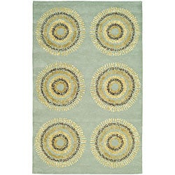 Handmade Deco Explosions Light Blue N. Z. Wool Rug (3'6 x 5'6)