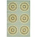 Handmade Deco Explosions Light Blue N. Z. Wool Rug (5' x 8')