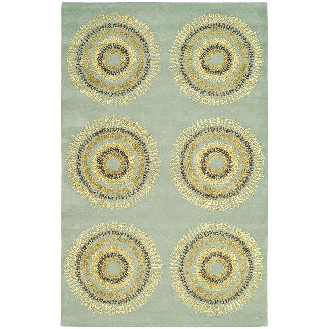 Safavieh Handmade Deco Explosions Light Blue N. Z. Wool Rug (7'6 x 9'6)