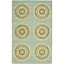 Handmade Deco Explosions Light Blue N. Z. Wool Rug (7'6 x 9'6)
