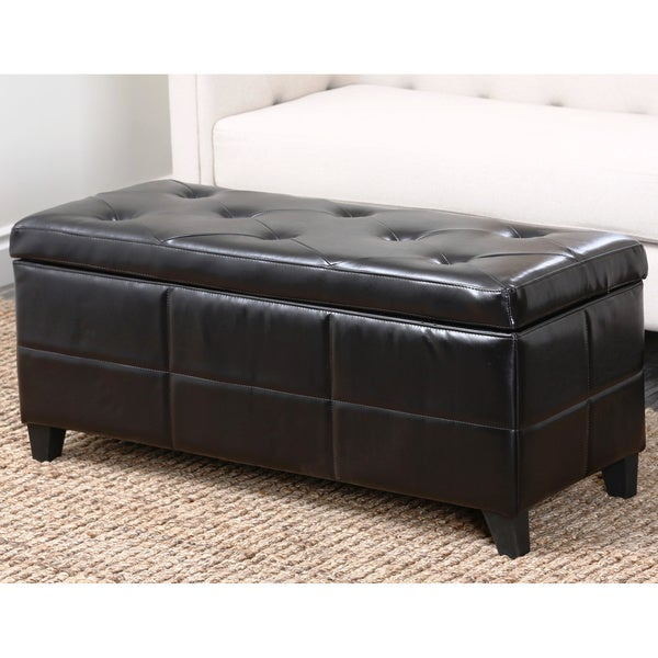 Abbyson Living Bentley Bonded Leather Storage Ottoman