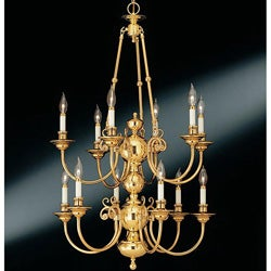 Williamsburg 12-light 2-tier Solid Brass Chandelier