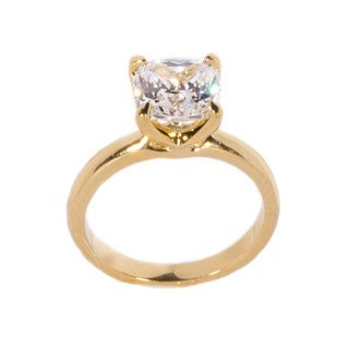 NEXTE Jewelry 14k Gold Overlay Cushion-cut Cubic Zirconia Solitaire Ring
