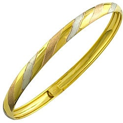 Fremada 10k Tri-color Gold Candy Stripe Bangle