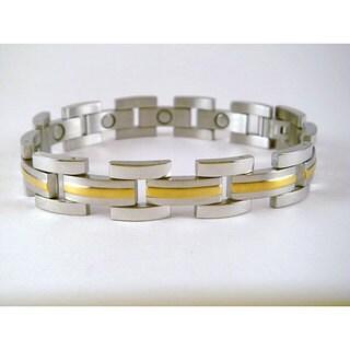The Horizon Men's Magnetic Gold Lined Stainless Steel Bracelet