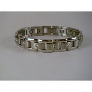 Men's Magnetic Crystal and Stainless Steel Bracelet