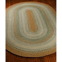 Hand-woven Indoor/Outdoor Reversible Multicolor Braided Polypropylene Rug (8' x 10' Oval)