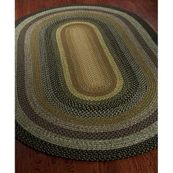 Hand-woven Indoor/Outdoor Reversible Multicolor Braided Rug (4' x 6' Oval)
