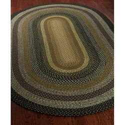 Hand-woven Indoor/Outdoor Reversible Multicolor Braided Rug (8' x 10' Oval)