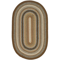 Hand-woven Reversible Brown Braided Rug (3' x 5' Oval)