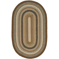 Hand-woven Reversible Brown Braided Rug (4' x 6' Oval)
