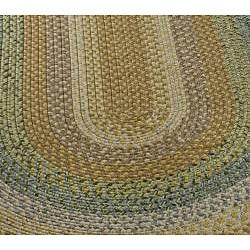 Hand-woven Reversible Tan Braided Rug (3' x 5' Oval)