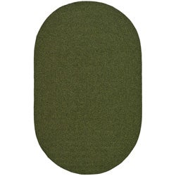 Hand-woven Reversible Green Braided Rug (4' x 6' Oval)