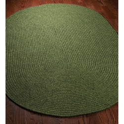 Hand-woven Reversible Green Braided Rug (8' x 10' Oval)