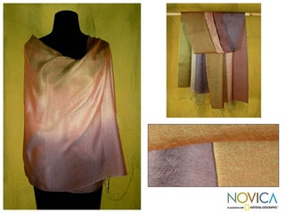 Silk and Wool 'Natural Radiance' Shawl (India)