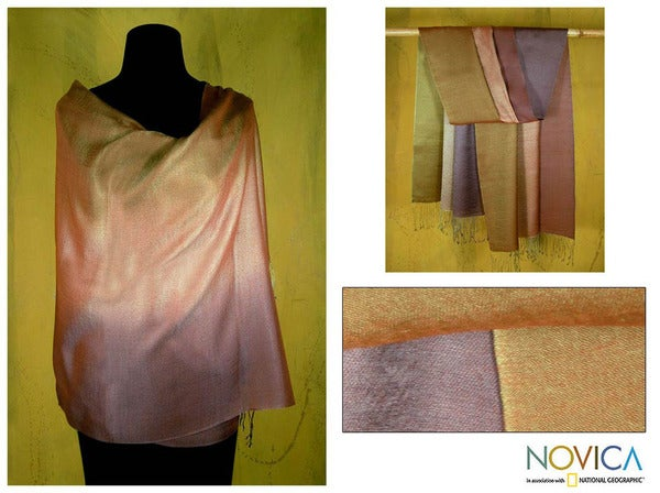 Silk and Wool 'Natural Radiance' Shawl (India)