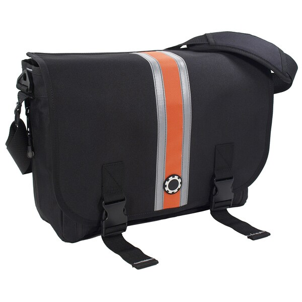 DadGear Messenger Orange Striped Diaper Bag