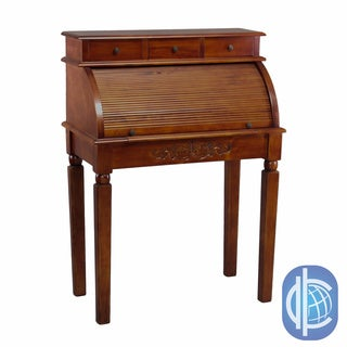 International Caravan Hardwood Roll Top Style Desk/ Vanity