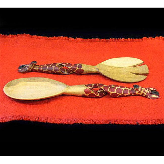 Set of 2 Hand-carved Giraffe Salad Tongs (Kenya)