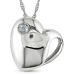 Miadora 10k White Gold Blue Topaz Heart Necklace