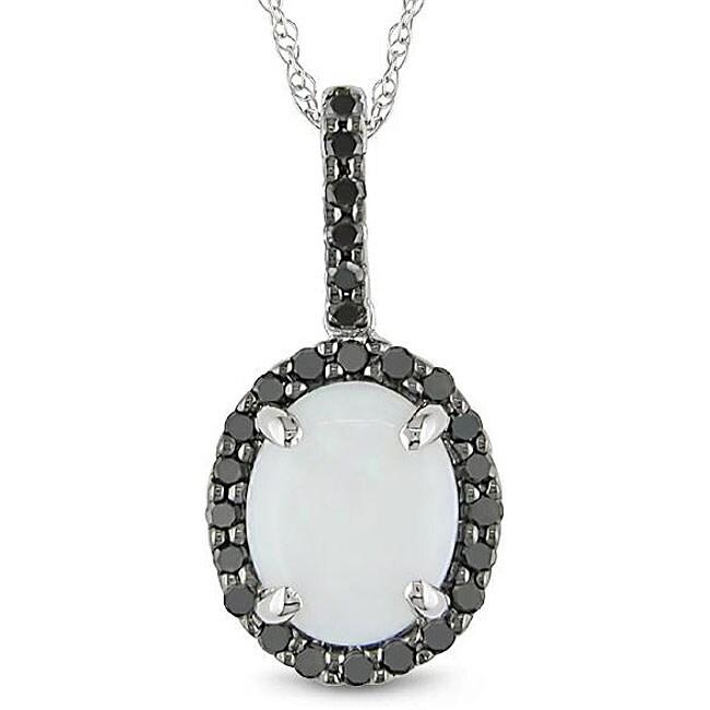 Miadora 10k Gold Opal and 1/3ct TDW Black Diamond Necklace