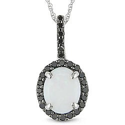 Miadora 10k Gold Opal and 1/3ct TDW Black Diamond Necklace