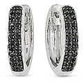 Miadora 10k White Gold 1/4ct TDW Black Diamond Hoop Earrings