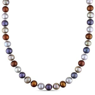 M by Miadora Multi-colored Cultured Freshwater Pearl Necklace (9-10 mm)