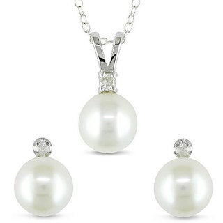 Miadora Silver FW Pearl and 1/10ct TDW Diamond Jewelry Set (I-J, I2-I3) (8-8.5 mm)