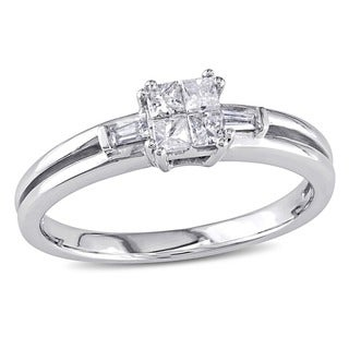Miadora 10k White Gold 1/4ct TDW Diamond Ring (H-I, I1-I2)