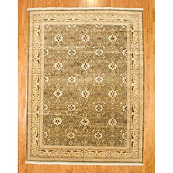 Indo Hand-knotted Green Wool Kashan Rug (9' x 12')
